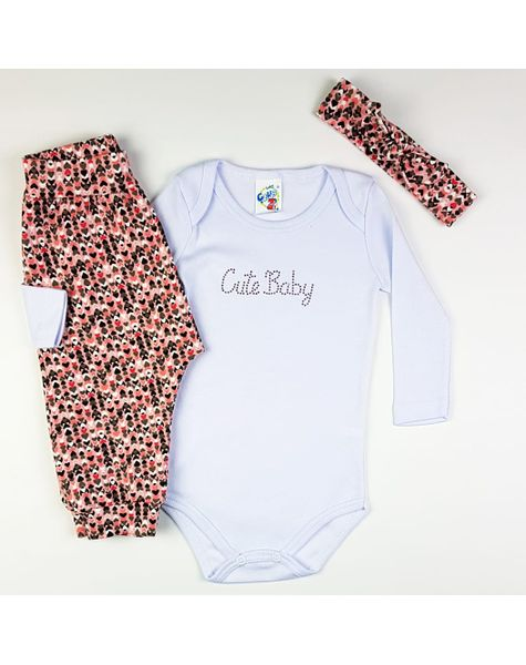 34018529cc187f Conjunto Body Infantil Suedine/Cotton Club Z 8350 Rosa