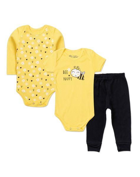 22109024441efa Kit Body Bebê 3 Peças Infantil Ribana Abelha Somos Corujas 9421 Amarelo